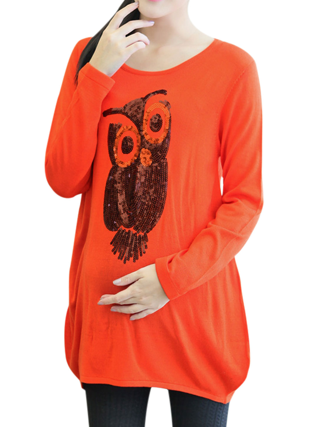 Maternity Owl Sequined Decor Curved Hem Soft Tunic Sweater Orange M