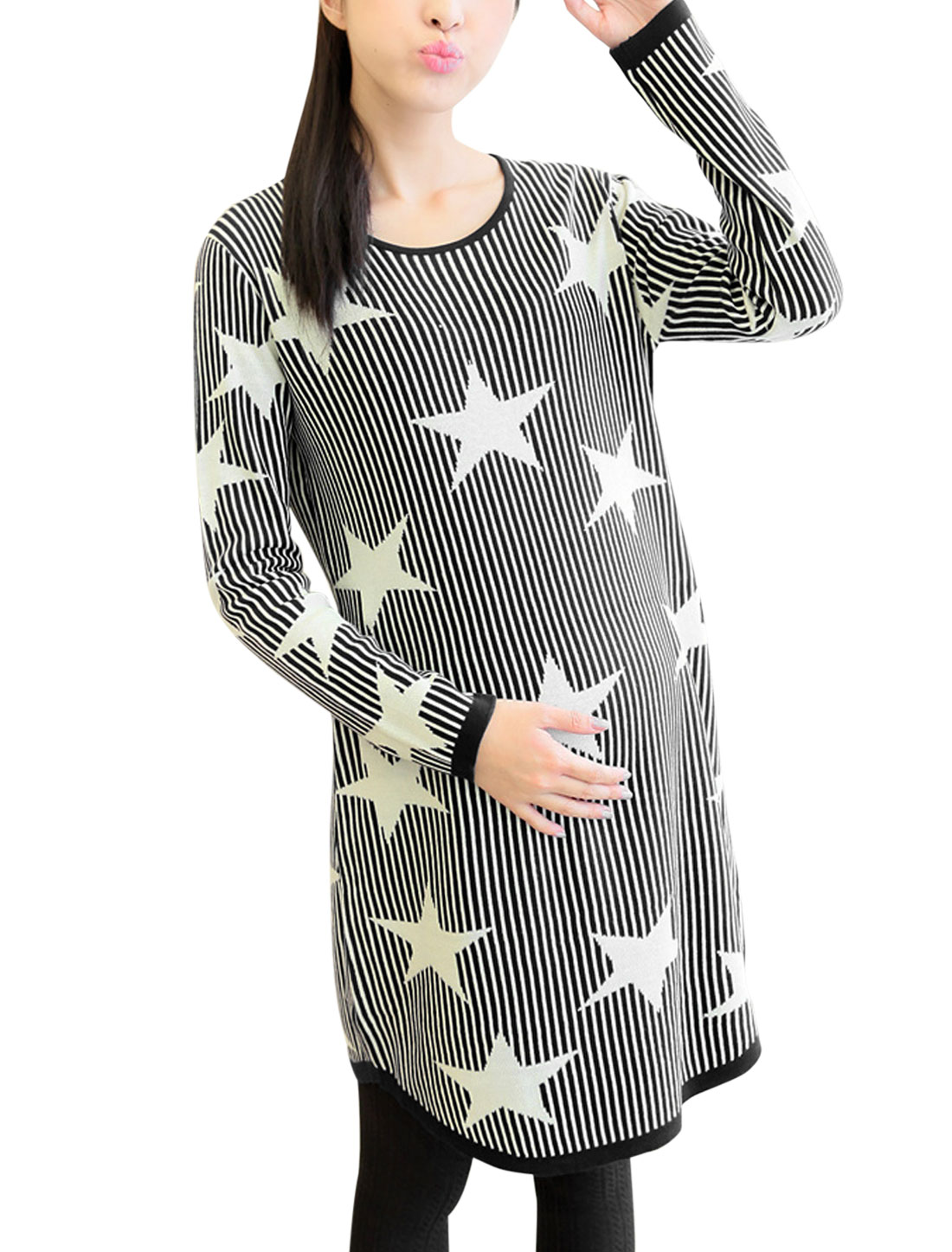 Maternity Long Sleeves Stars Pattern Stripes Pattern Soft Tunic Sweater Black L