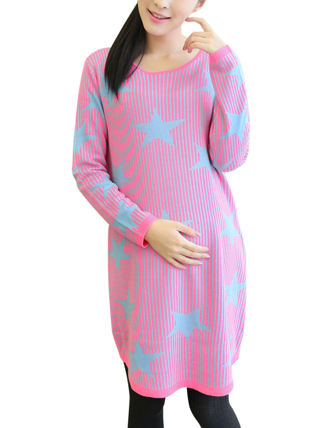 Maternity Long Sleeves Stars Stripes Pattern Stretchy Tunic Sweater Fuchsia L