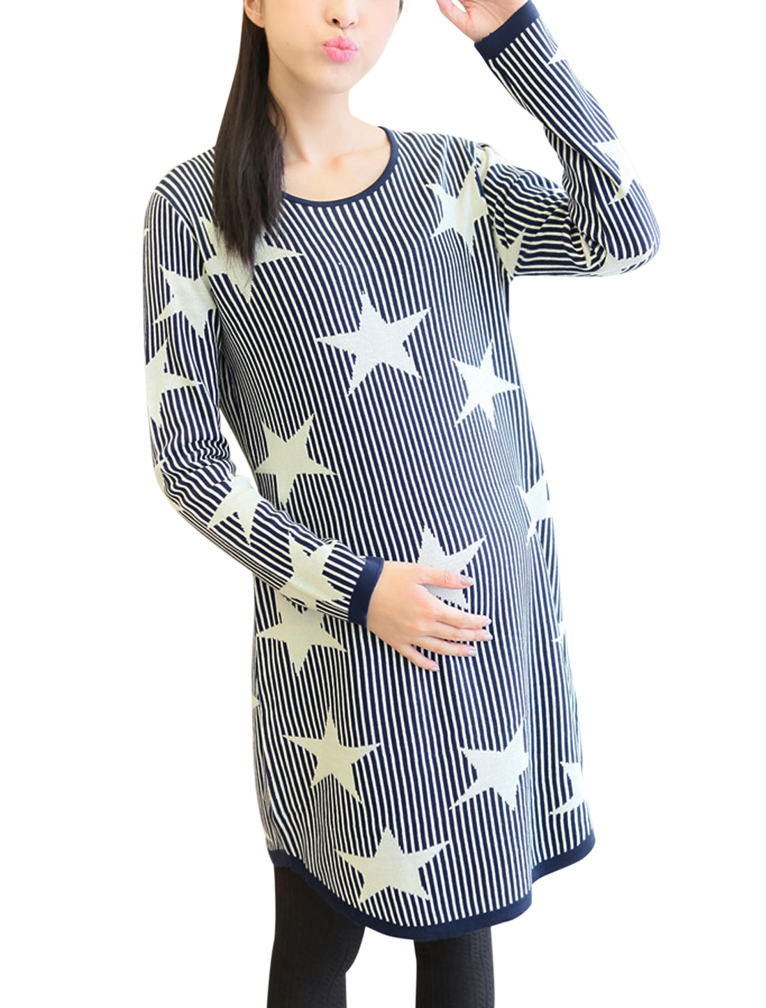 Maternity Ribbing Trim Stars Stripes Pattern Stretchy Tunic Sweater Navy Blue L