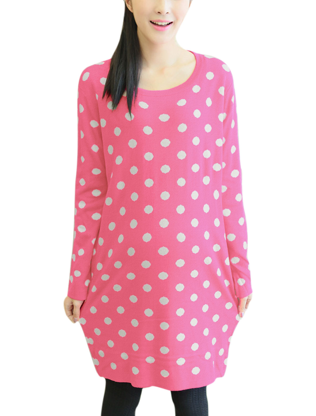 Maternity Slipover Round Neck Dots Pattern Casual Tunic Knit Top Pink White L