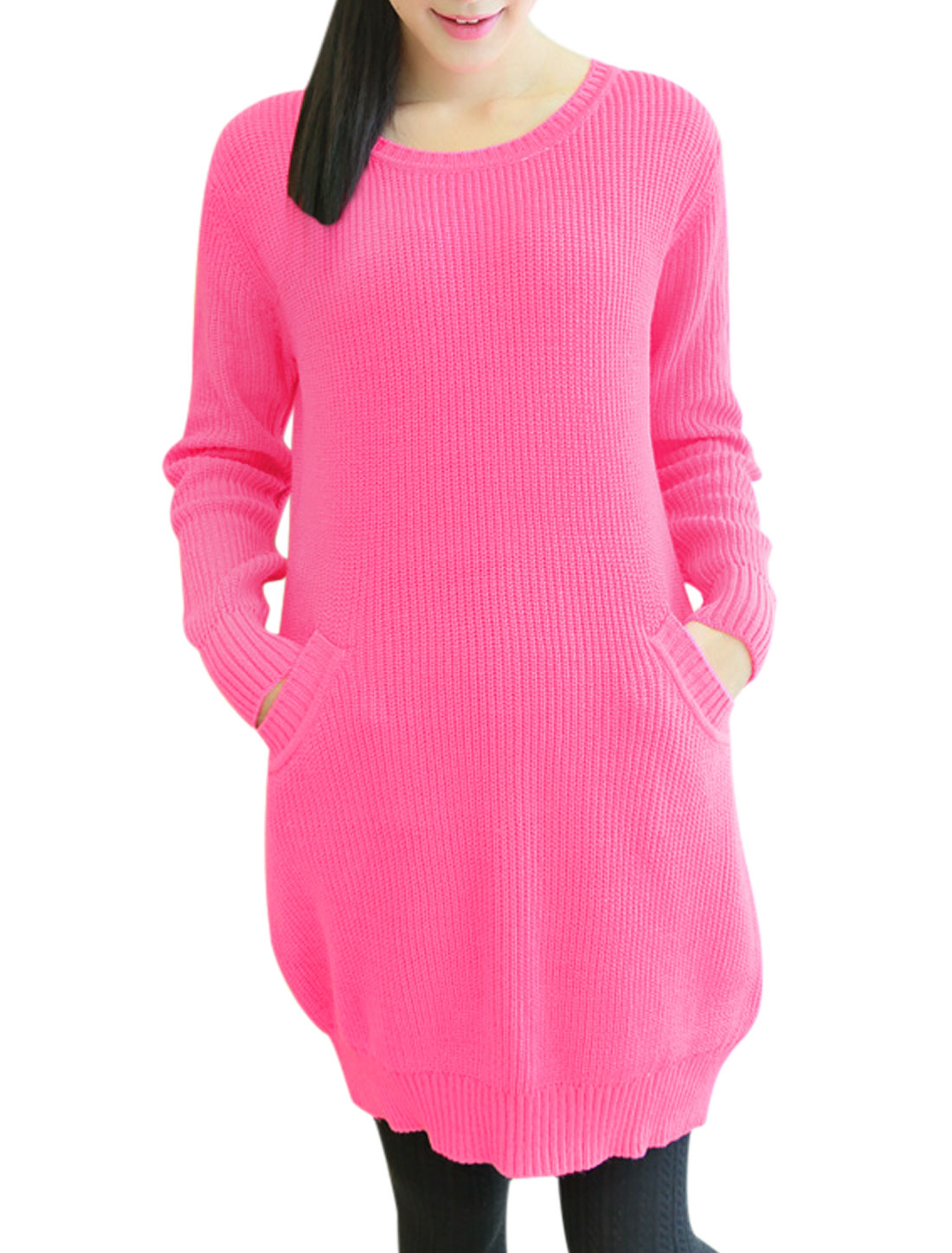 Maternity Round Neck Double Slant Pocket Front Casual Tunic Sweater Pink S