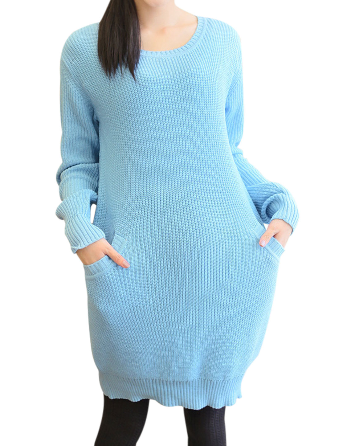 Slipover Fashion Round Neck Tunic Sweater for Maternity Baby Blue S