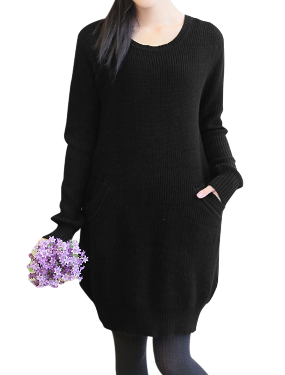 Cozy Fit Fashionable Double Slant Pocket Tunic Sweater for Maternity Black S