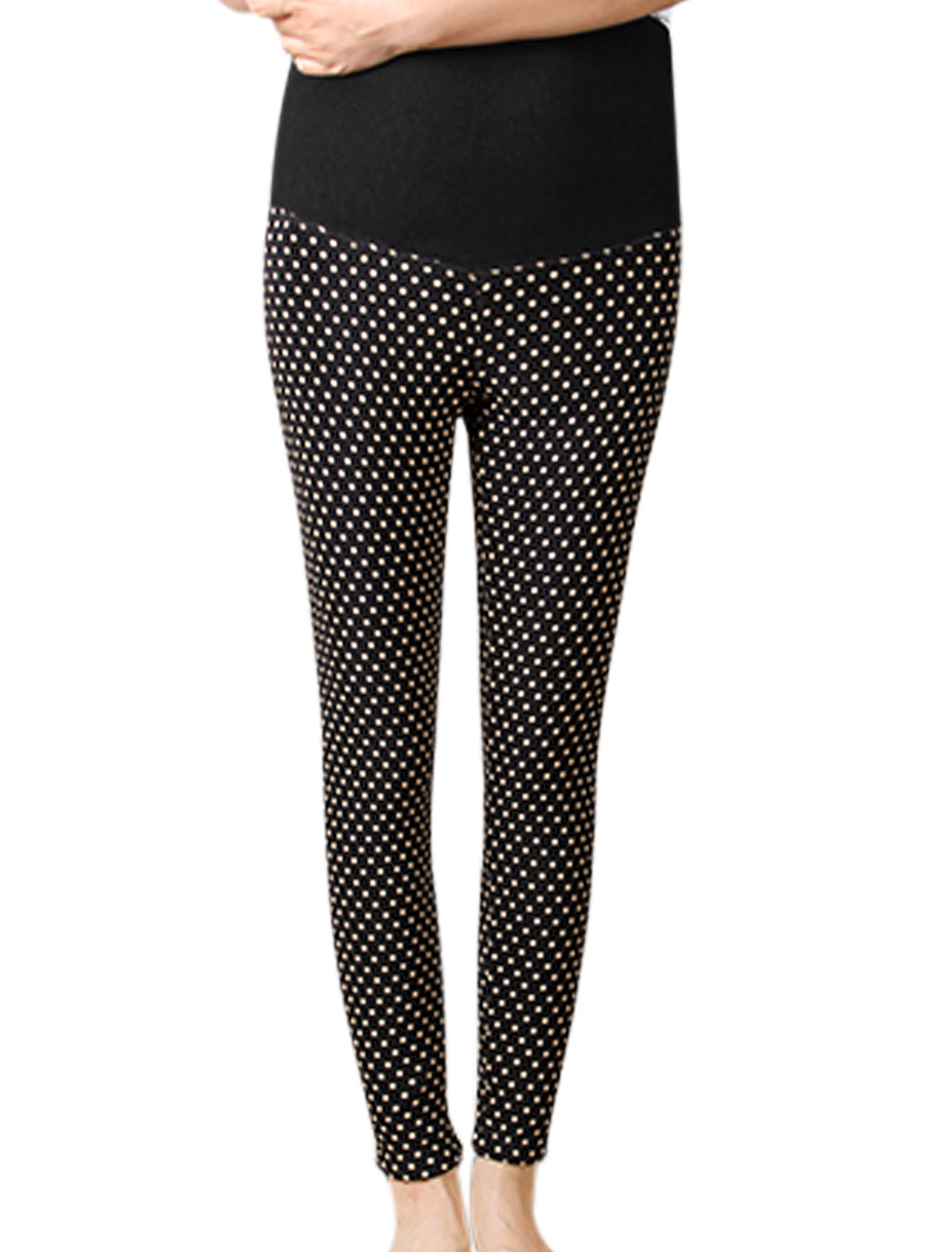 Maternity Drawstring Button Adjustable Waist Dots Pattern Casual Leggings Black XS
