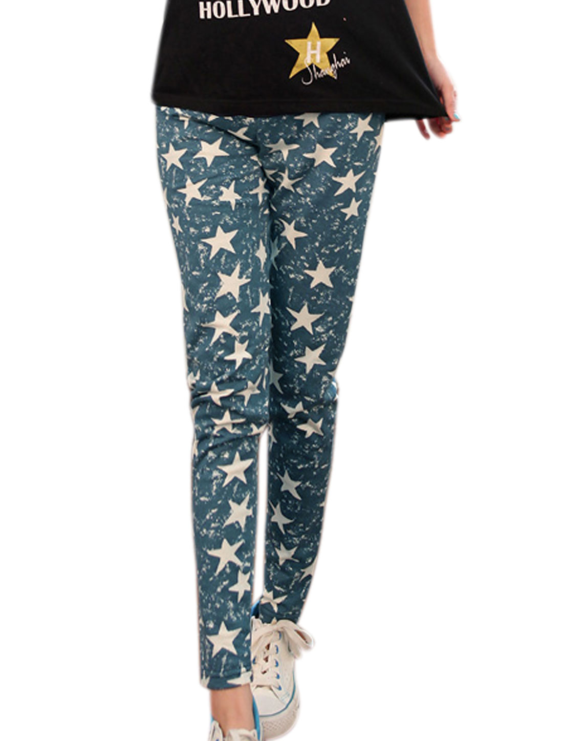 Maternity Drawstring Button Adjust Waist Stars Pattern Casual Pants Turquoise