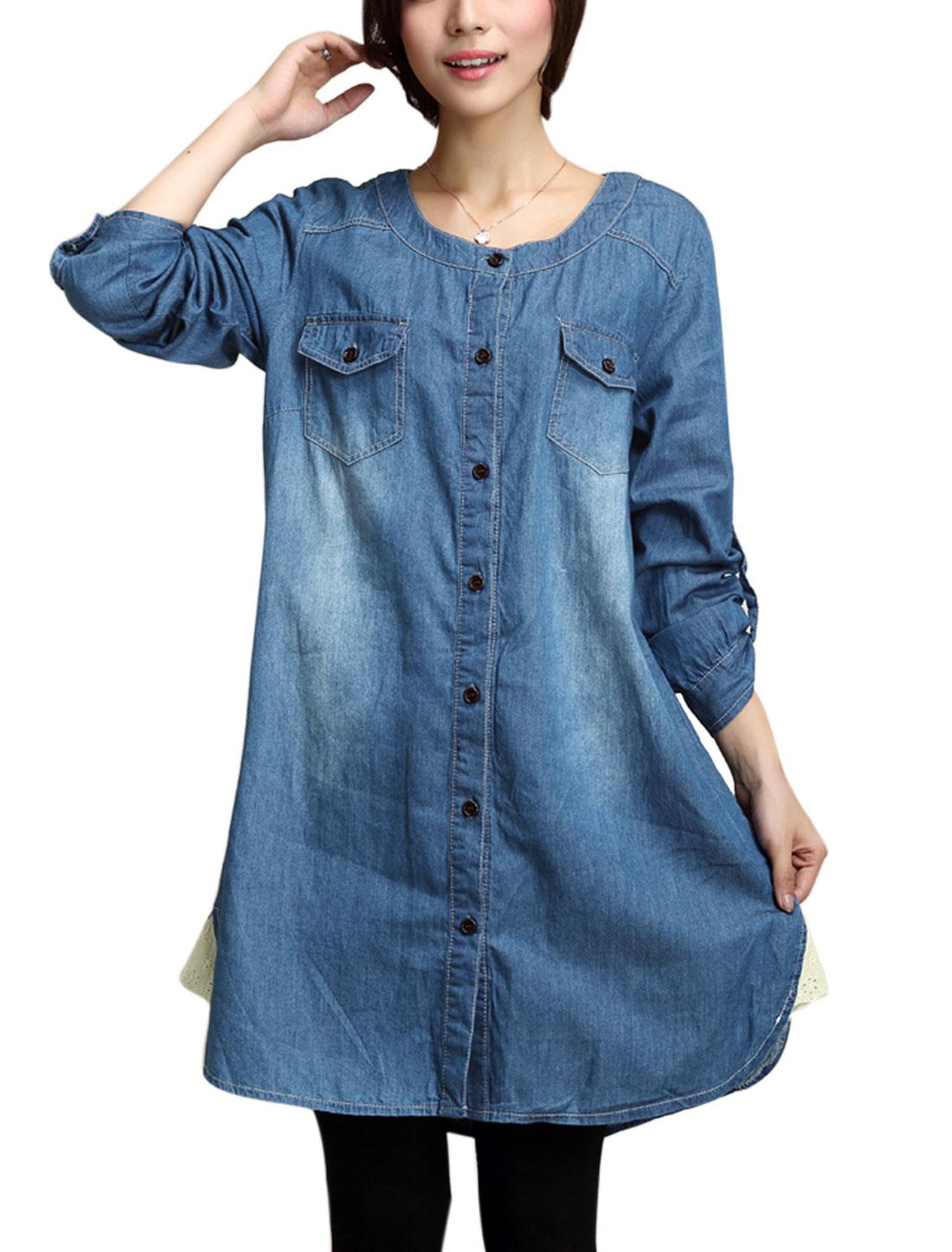 Maternity Roll Up Cuffs Bust Flap Pockets Soft Denim Shirt Dress Blue M
