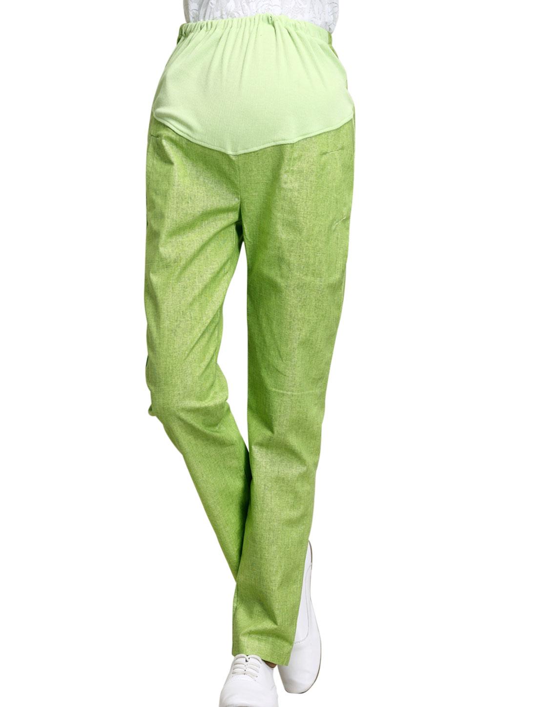 Maternity Drawstring Button Adjustable Waist Slant Pockets Pants Lime XS