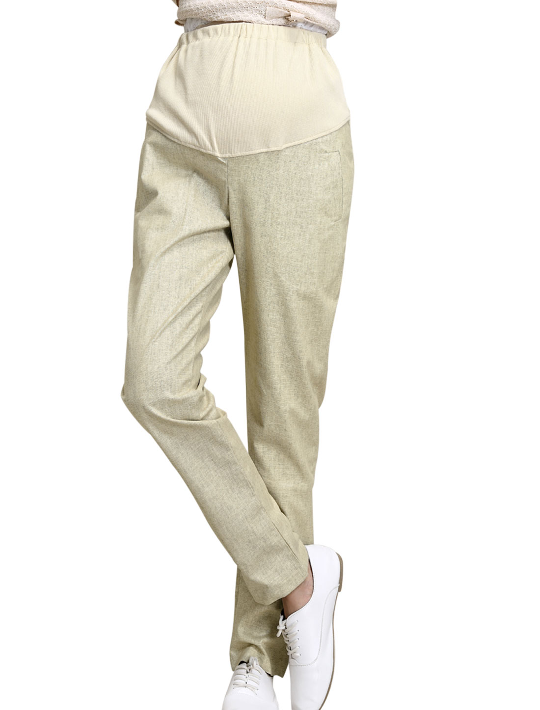 Maternity Button Adjust Drawcord Waist Casual Trousers Beige XS