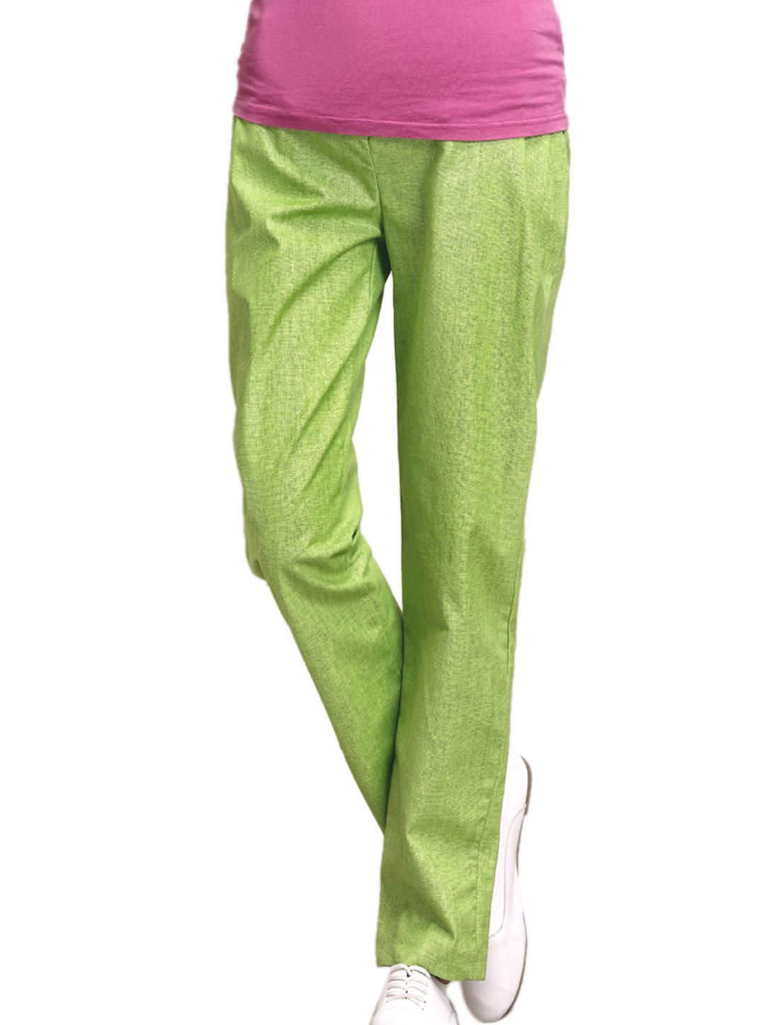 Maternity Drawstring Button Adjust Waist Slant Pockets Casual Pants Lime XS