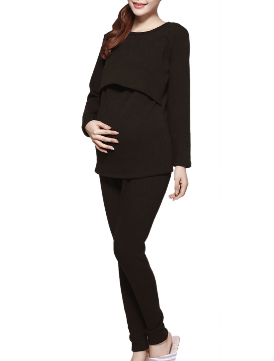 Maternity Spliced Adjustable Drawcord Pajama Sleepwear Set Coffee S