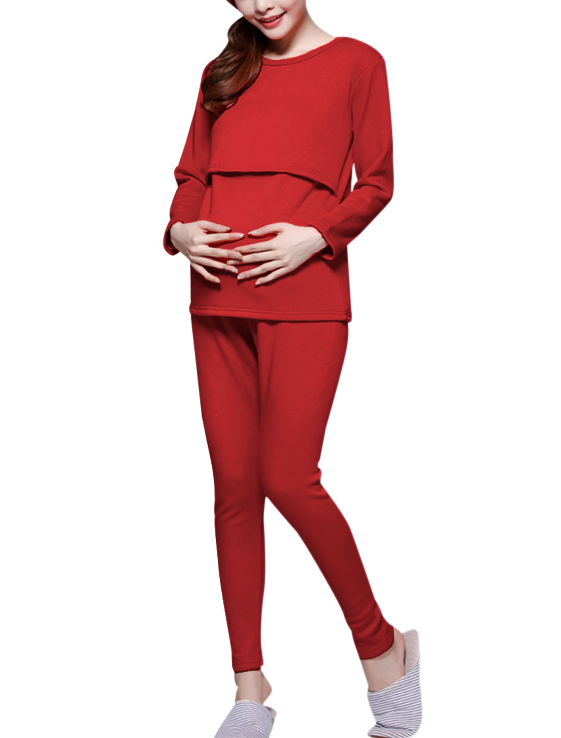 Maternity Splicing Adjustable Strap Fleece Lined Pajama Sleepwear Set Red S
