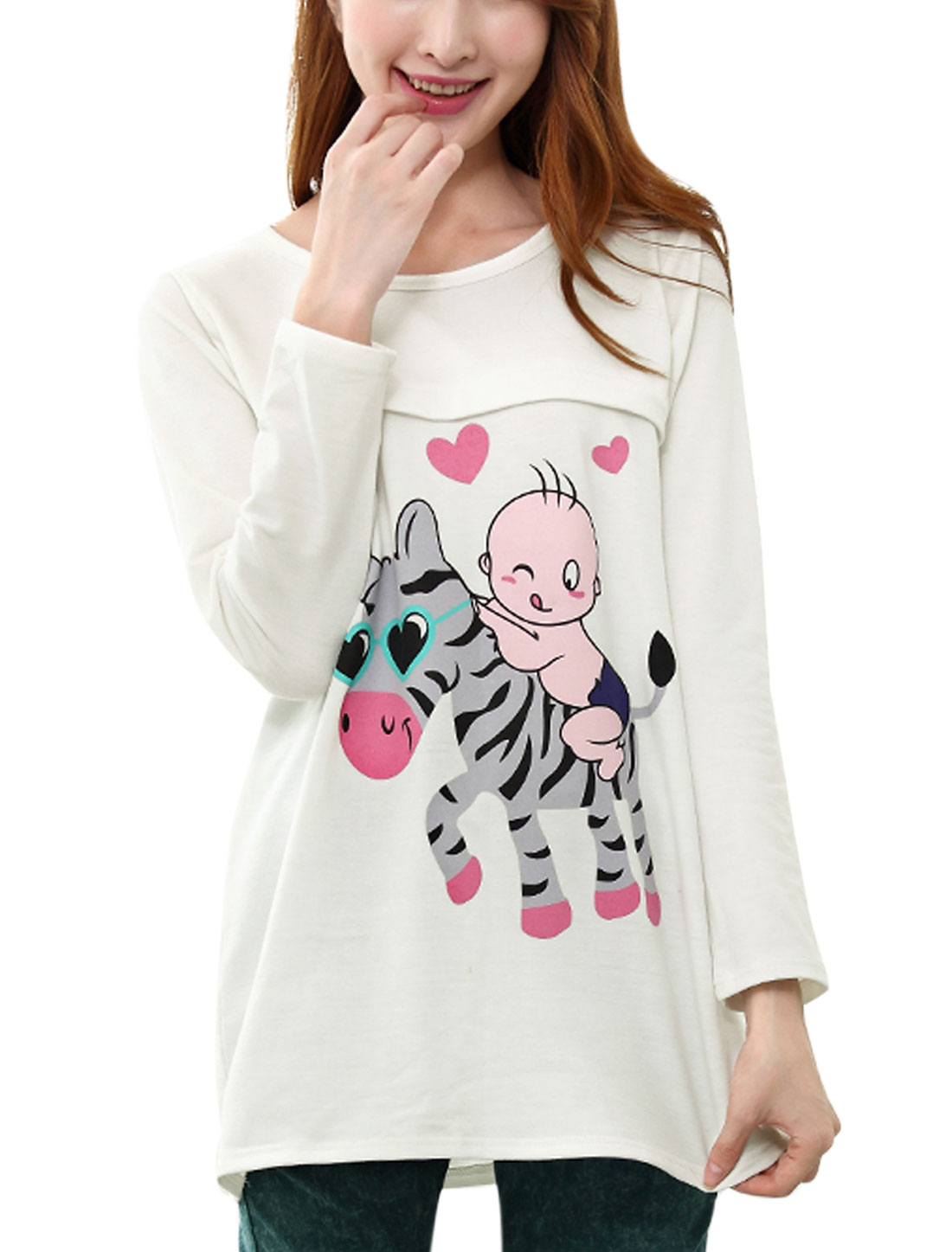 XK22 Maternity Round Neck Cartoon Prints Long Sleeve Tunic T-shirt White XL/L (US 12)