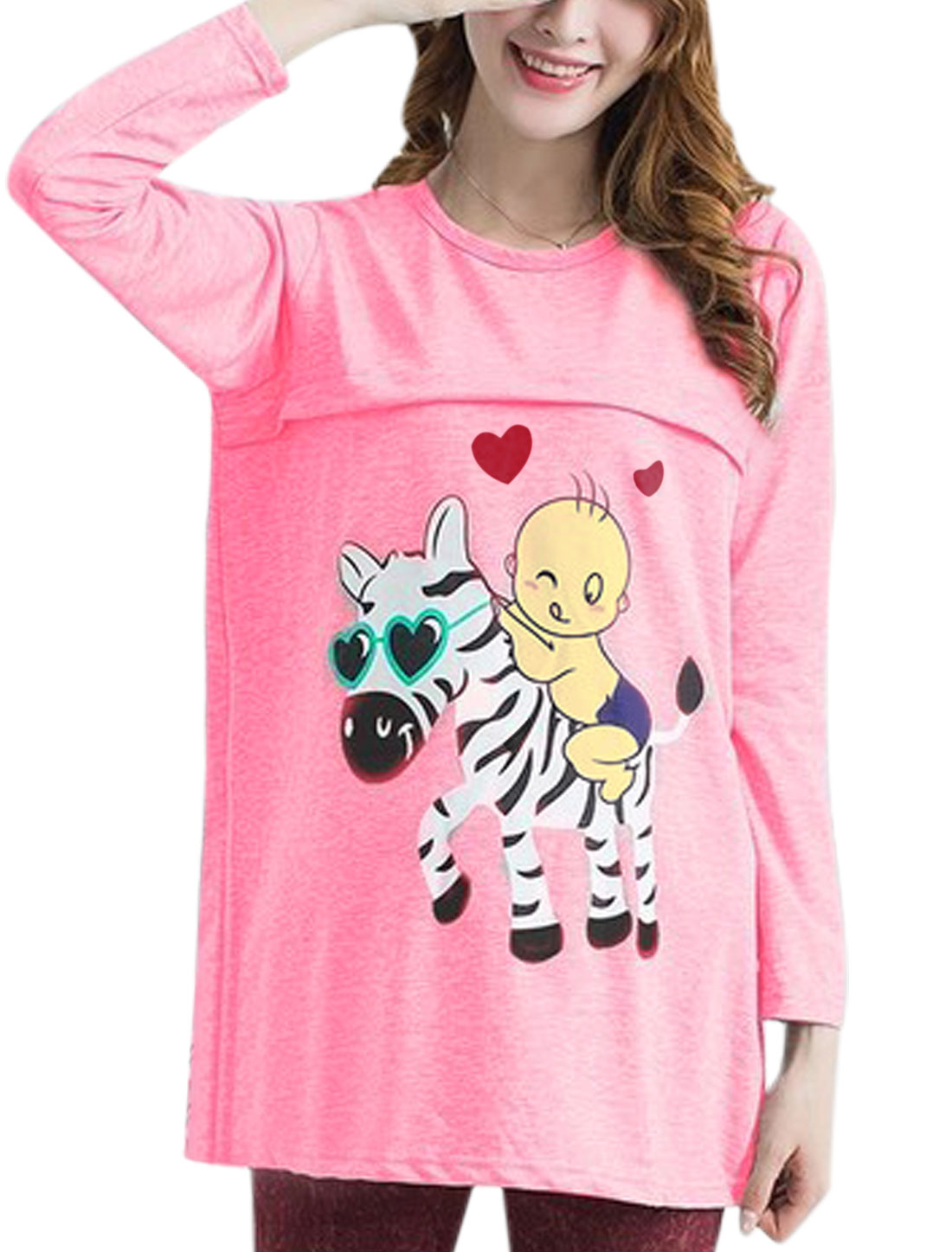 XK22 Maternity Pullover Cartoon Prints Casual Tunic Tee Shirt Pink XL/L (US 12)