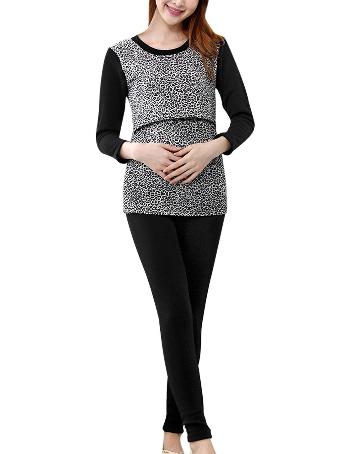 Maternity Leopard Print Soft Top w Fleece Lined Warm Pants Pajama Sets Black XS