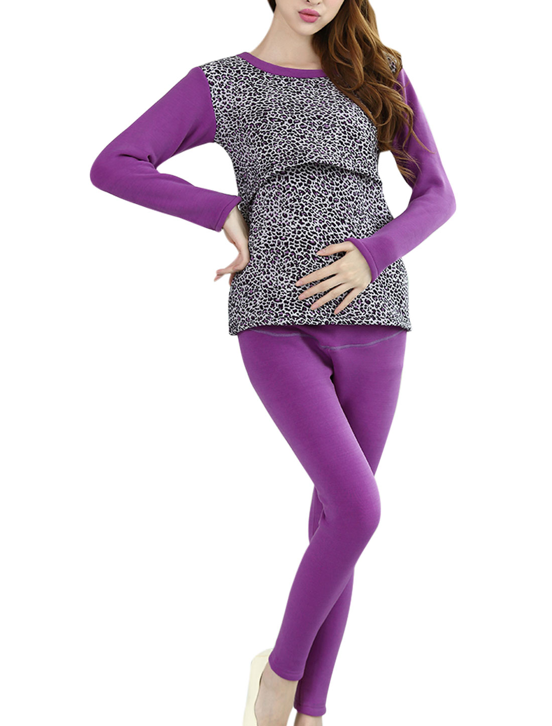 Maternity Leopard Print Soft Top w Fleece Lining Pants Pajama Sets Purple XS