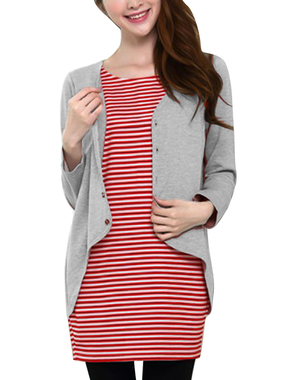 XK20 Maternity Stripes Pattern Fake Two Pieces Casual Tunic Top Light Gray Red L/M (US 8)
