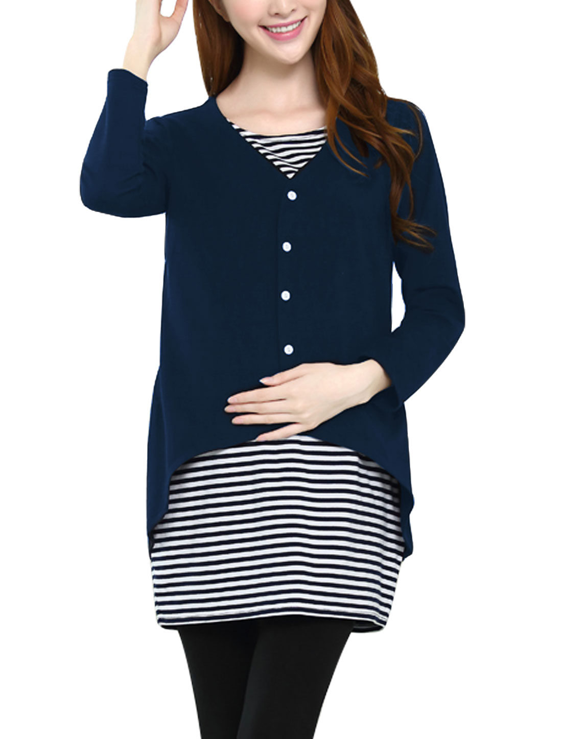 XK20 Maternity Stripes Pattern Cozy Fit Tunic Top Navy Blue Black L/M (US 8)