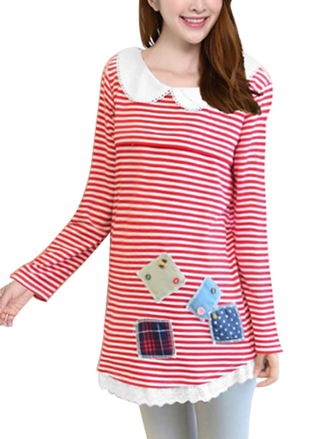 XK17 Maternity Doll Collar Stars Plaids Applique Leisure Blouse Red White XL/L (US 14)