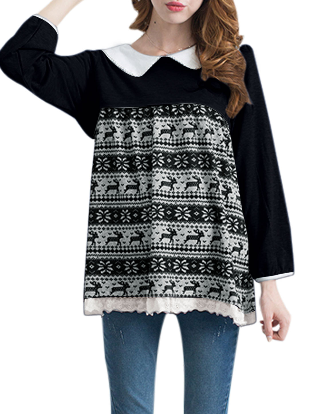 XK18 Maternity Peter Pan Collar Geometric Deer Pattern Casual Top Navy Blue L/S (US 6)