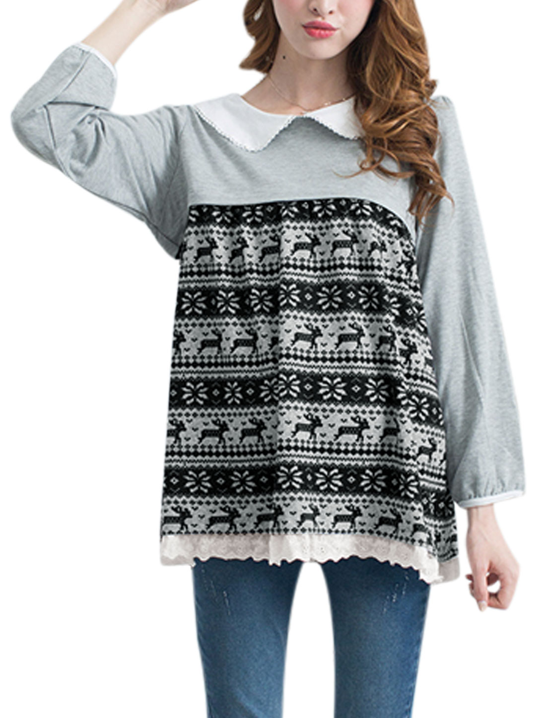 XK18 Maternity Pullover Geometric Deer Pattern Cozy Fit Top Light Gray L/S (US 6)