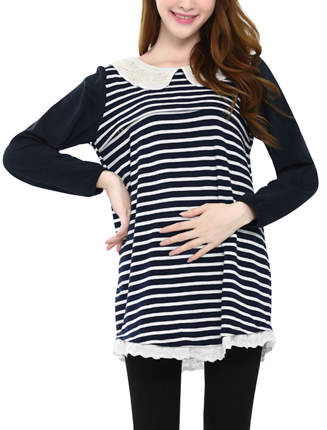 XK19 Maternity Peter Pan Collar Stripes Pattern Casual Tunic Top Navy Blue L/M (US 8)