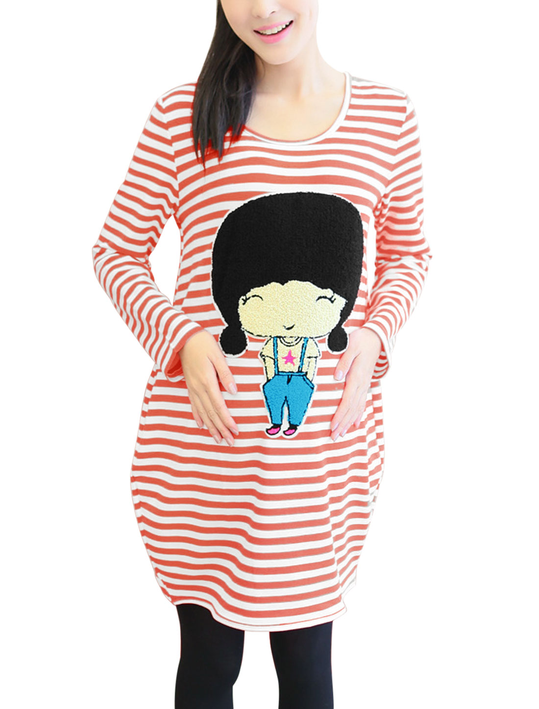 Maternity Round Neck Striped Cartoon Applique Soft Tunic Top Orange White M