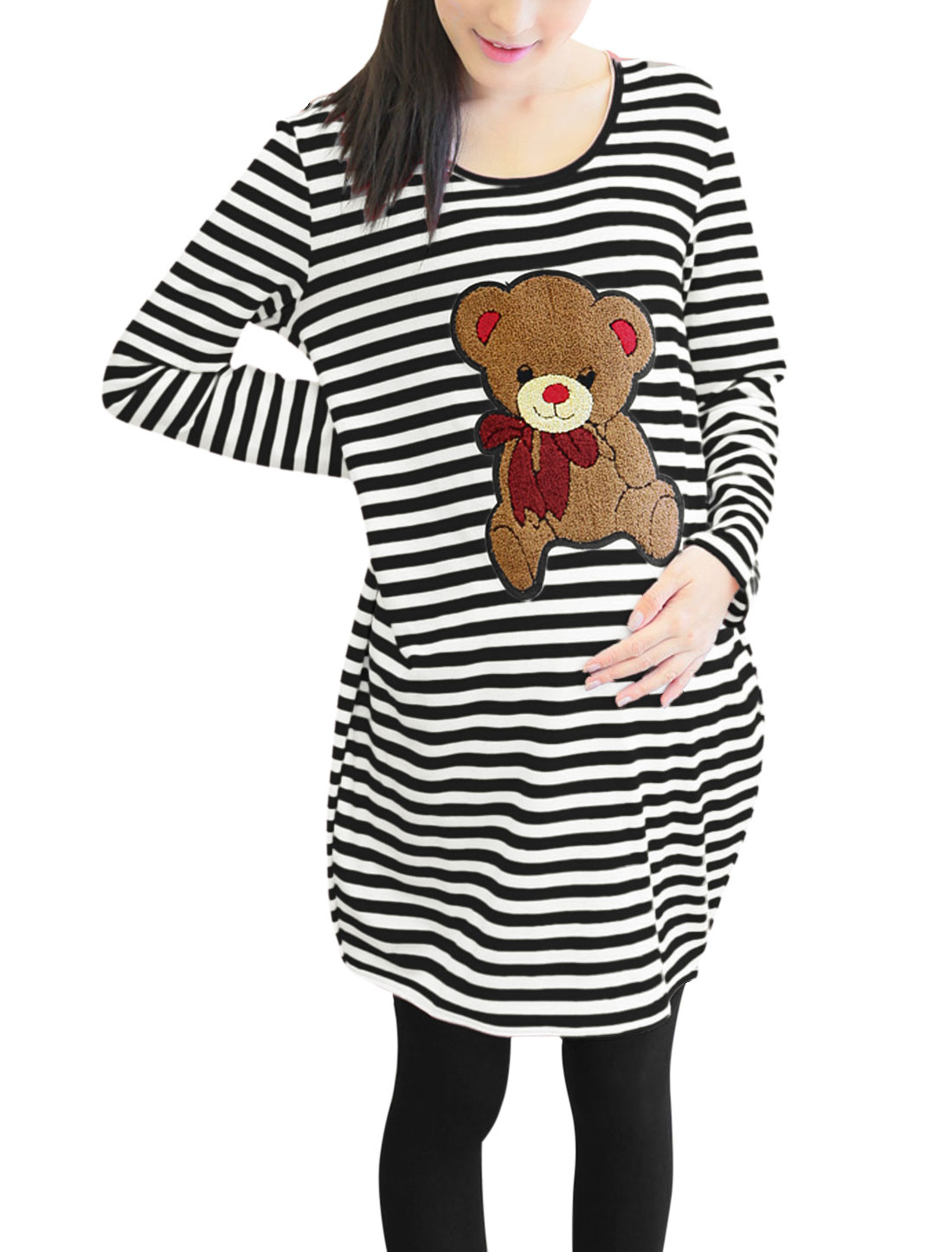 Maternity Stripes Pattern Bear Applique Pullover Leisure Tunic Top Black White M