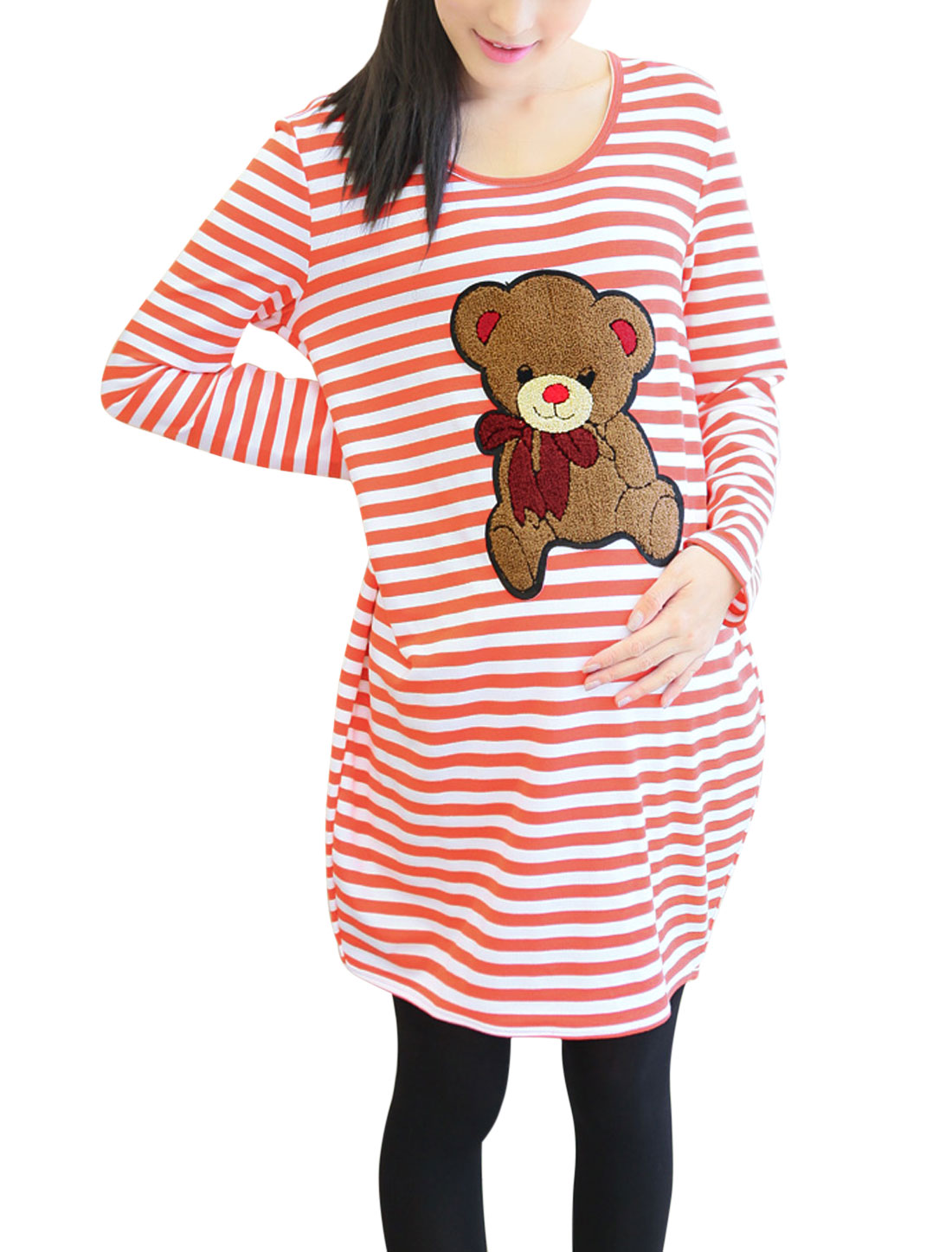 Maternity Long Sleeves Striped Bear Applique Pullover Tunic Top Orange White M