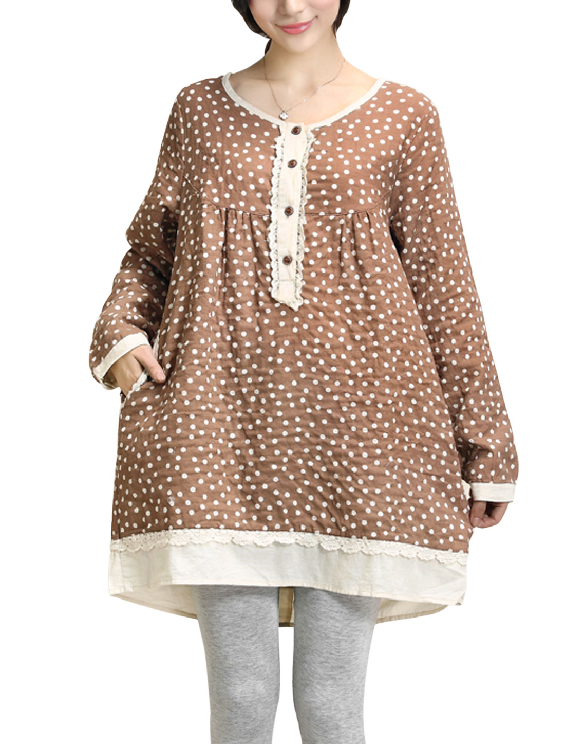 Maternity Dots Pattern Double Seam Pocket Front Cozy Fit Dress Light Brown M