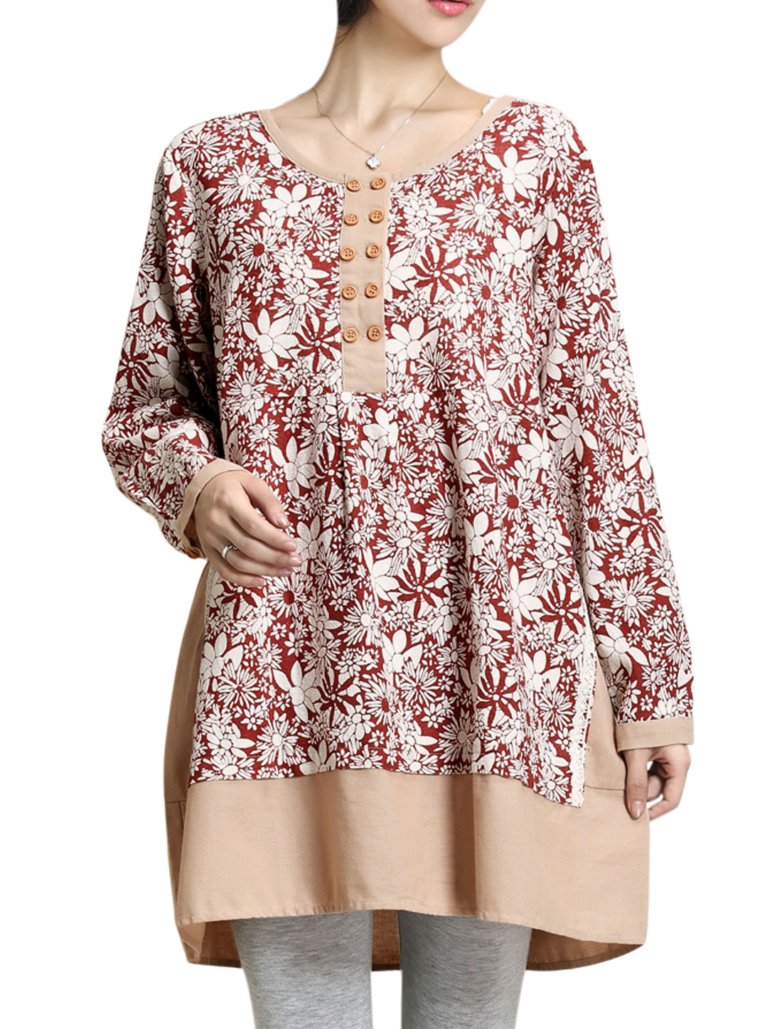 Maternity Button Closure Floral Pattern Spliced Casual Tunic Top Burgundy S