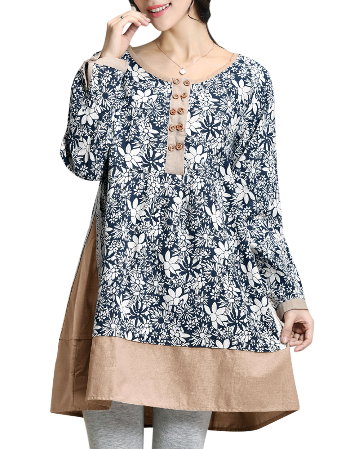 Maternity Pullover Floral Pattern Crochet Detail Tunic Top Navy Blue S
