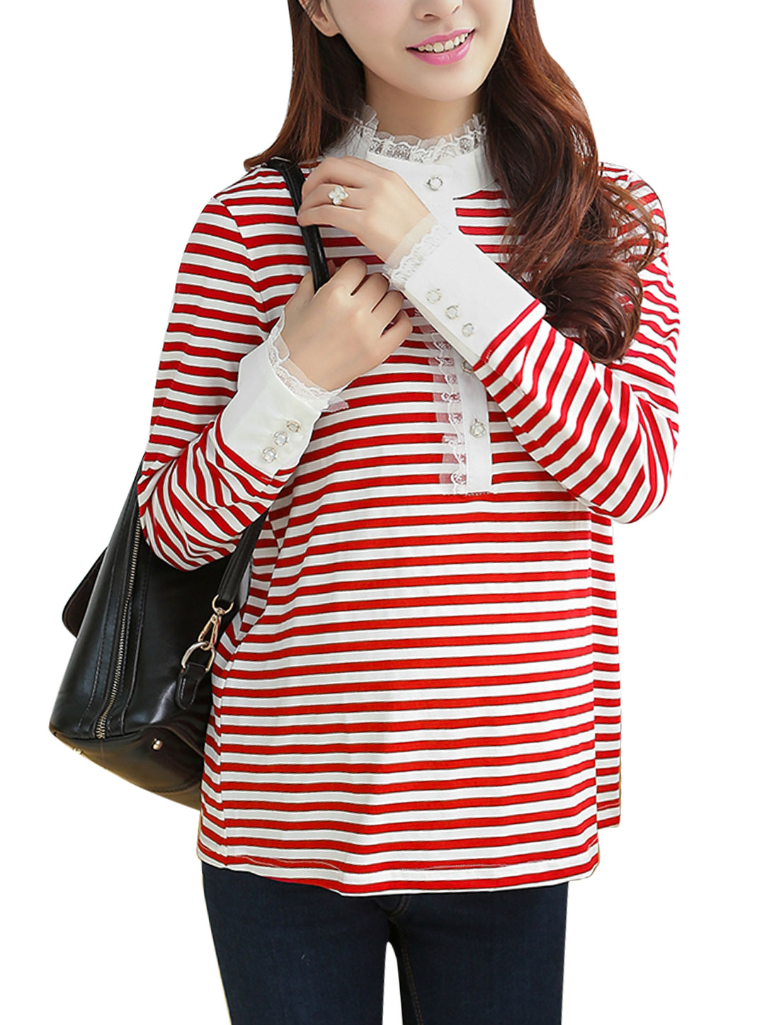 Maternity Stripes Long Sleeves Stand Collar Red White Casual Shirt M