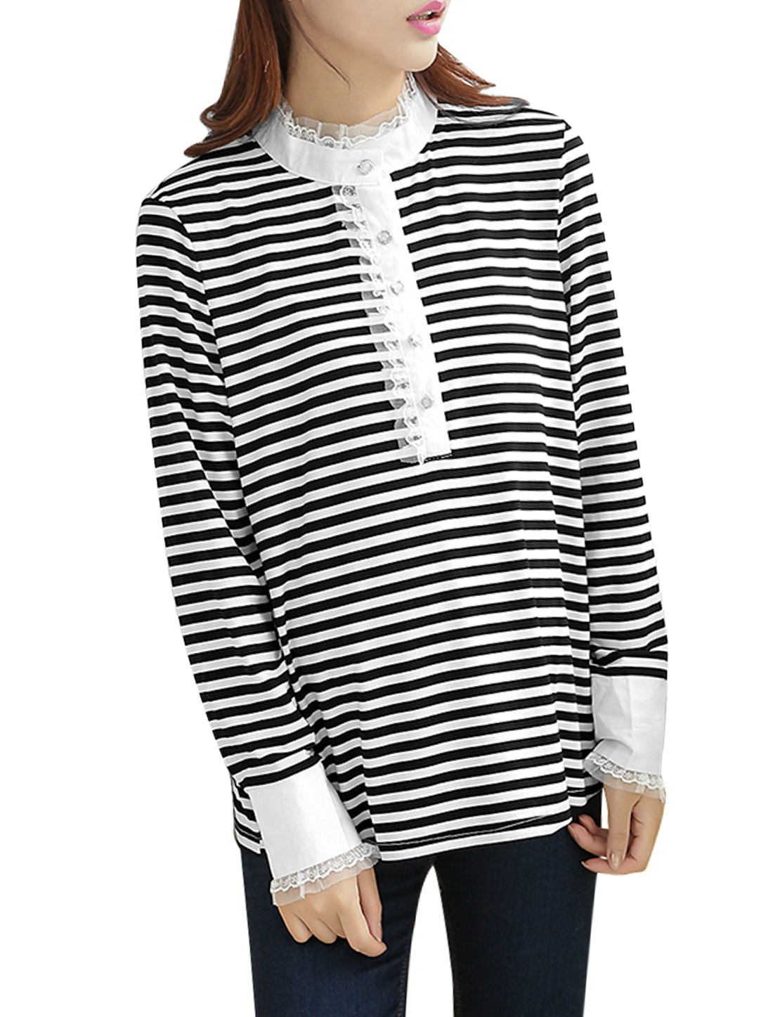 Maternity Button Cuffs 1/2 Placket Stripes Black White Casual Shirt M