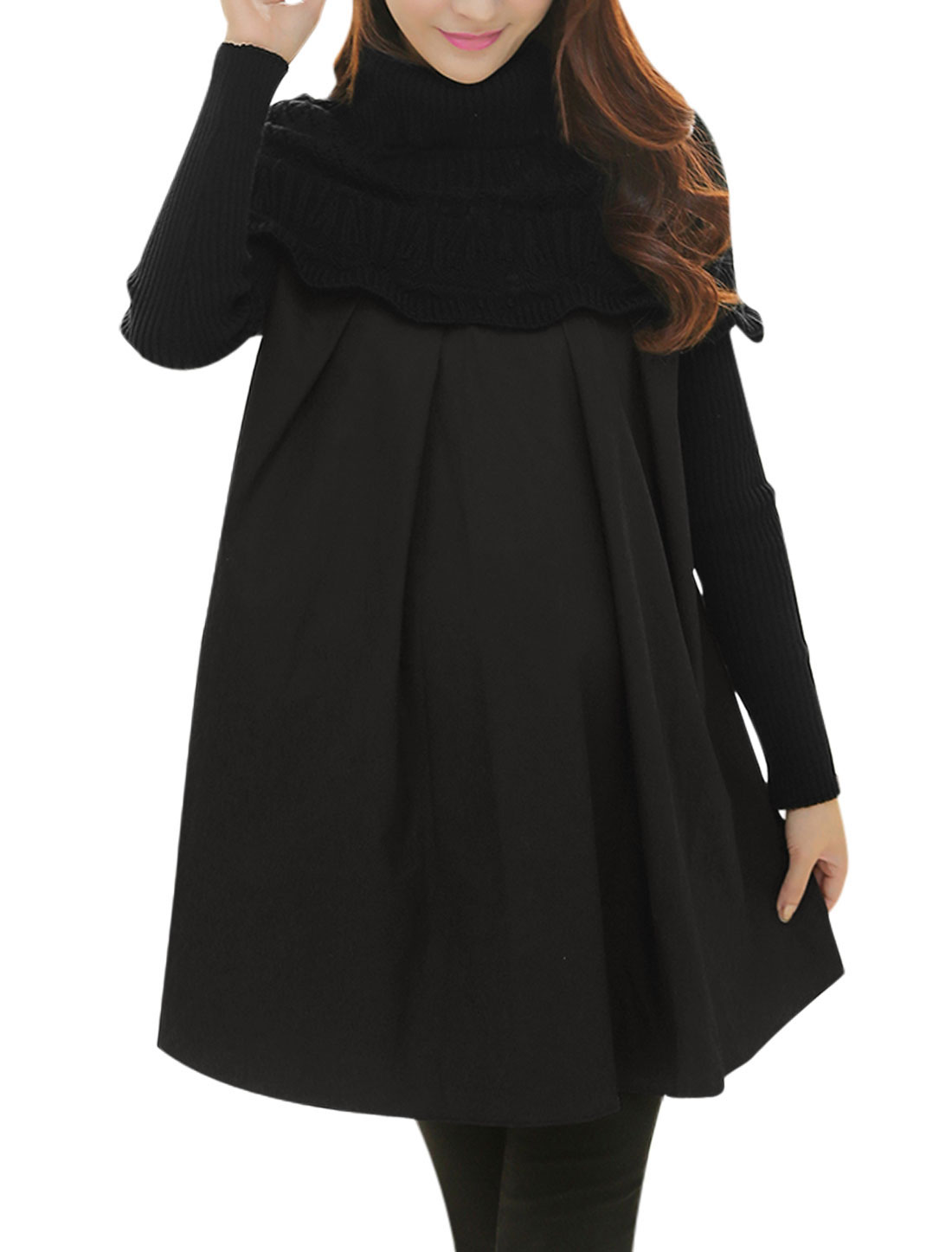 Maternity Turtle Neck Knit Panel Cozy Fit Dress Black M