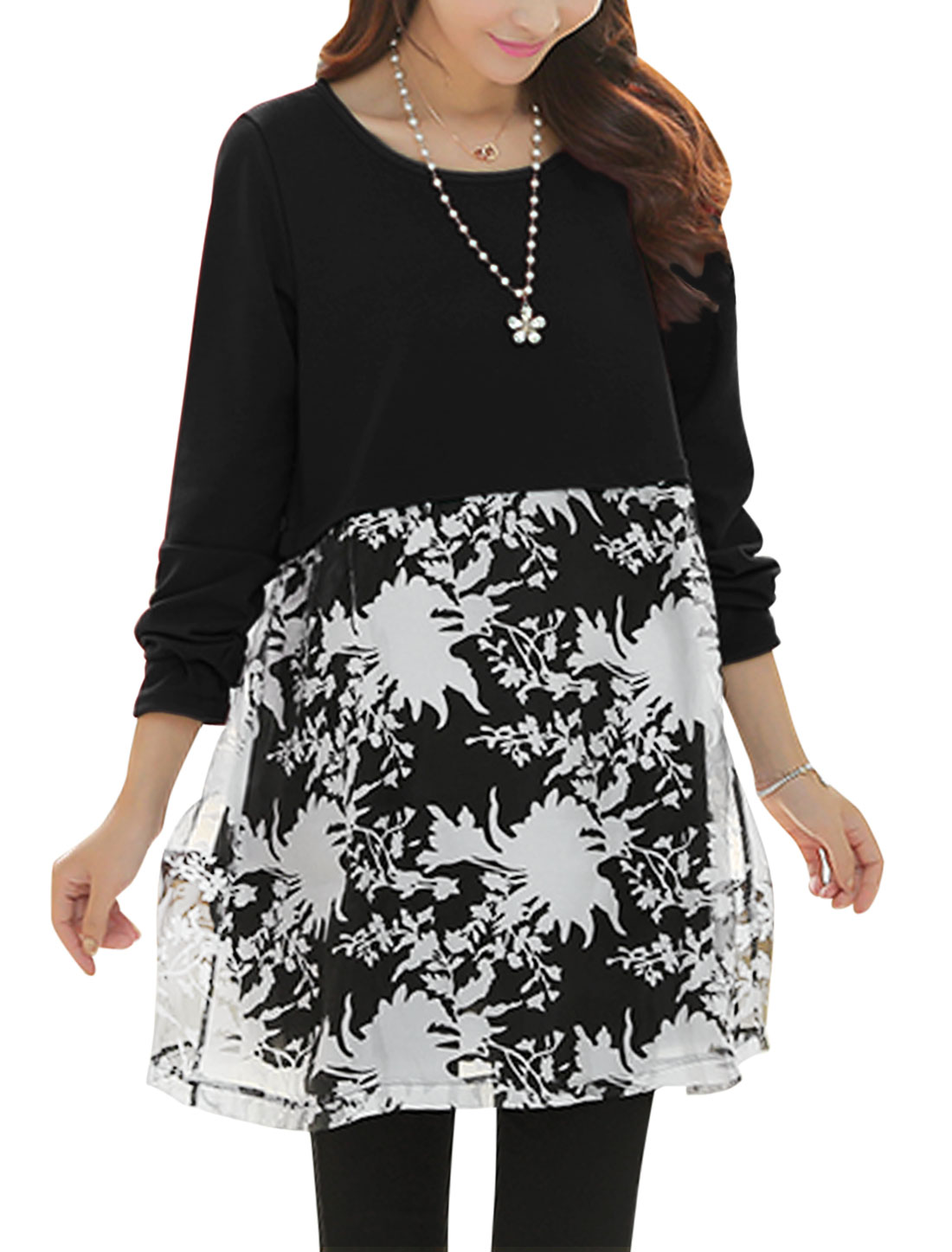 Maternity Round Neck Floral Pattern Pullover Black Dress L