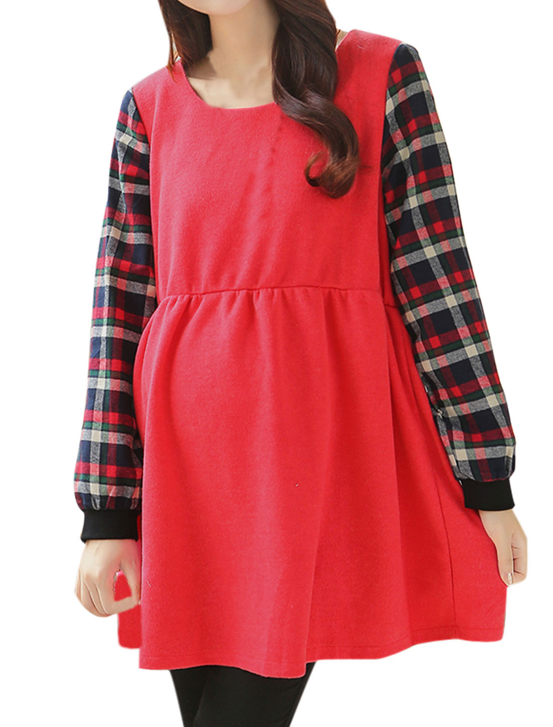 Maternity Round Neck Long Sleeves Panel Watermelon Red Dress L