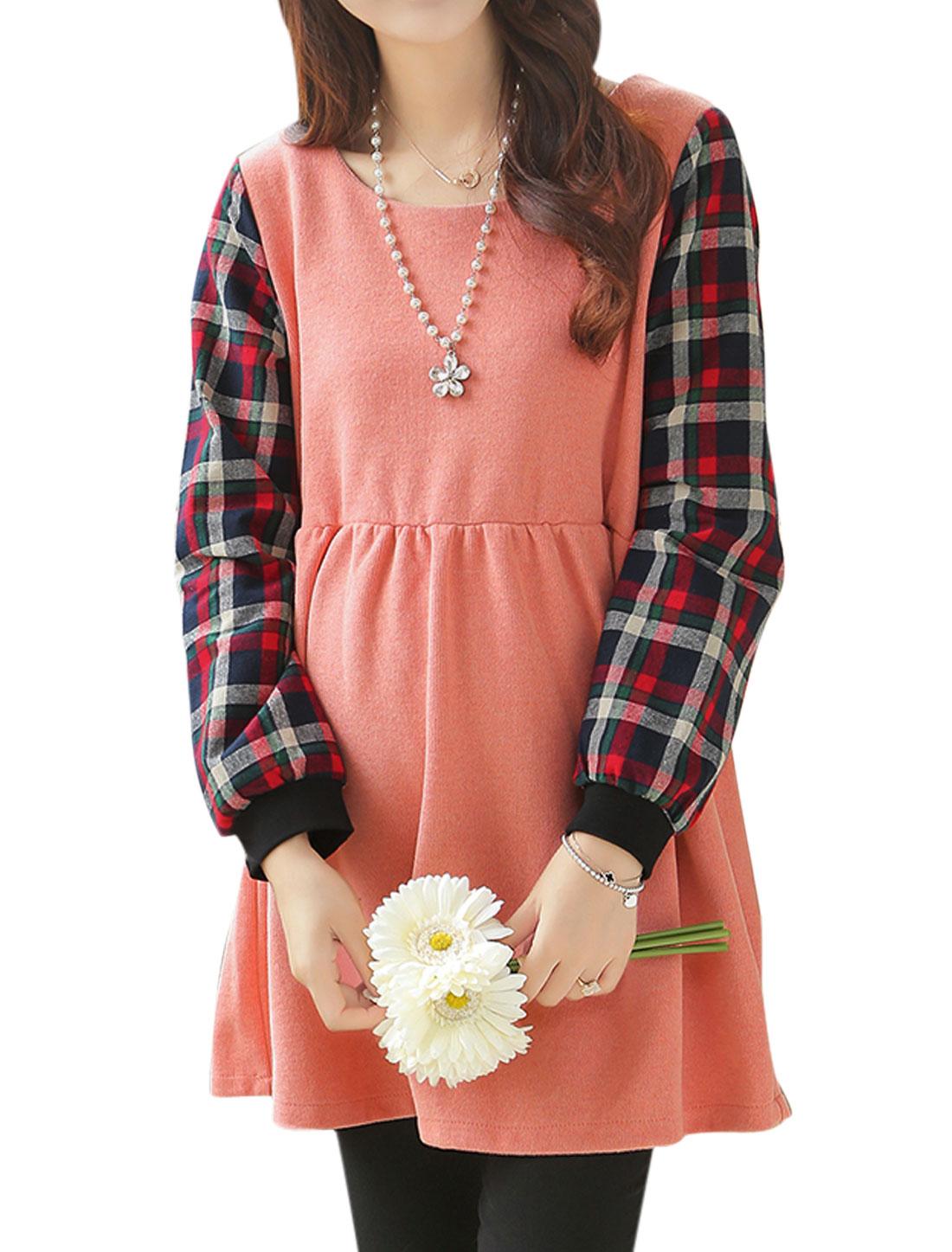 Maternity Long Sleeves Panel Elastic Waist Pink Dress L