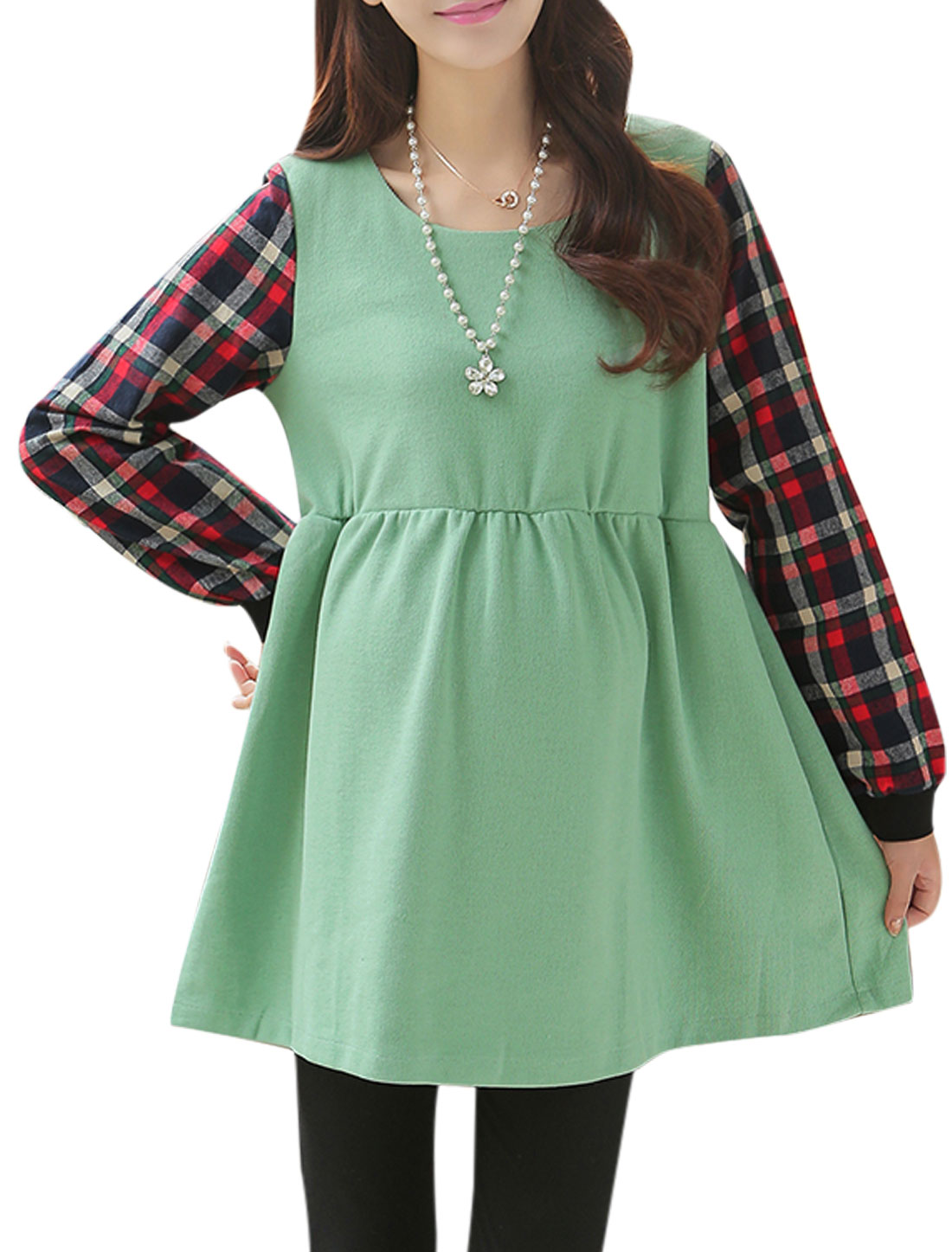 Maternity Stretchy Waist Design Long Sleeves Green Dress L