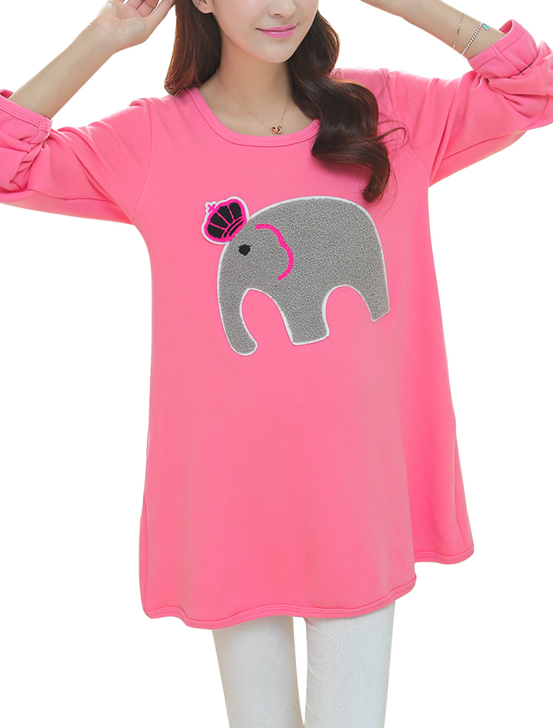 Maternity Soft Long Sleeves Fleece Lined Elephant Applique Dress Pink L