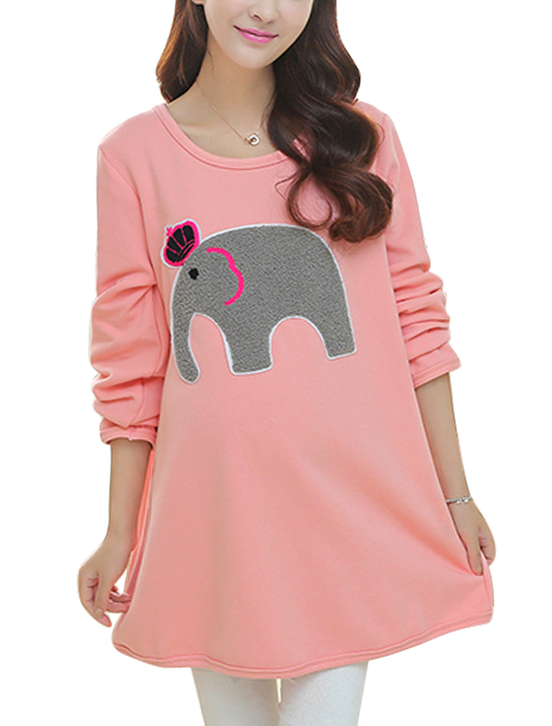 Maternity Soft A Line Fleece Lined Elephant Applique Dress Coral Pink L
