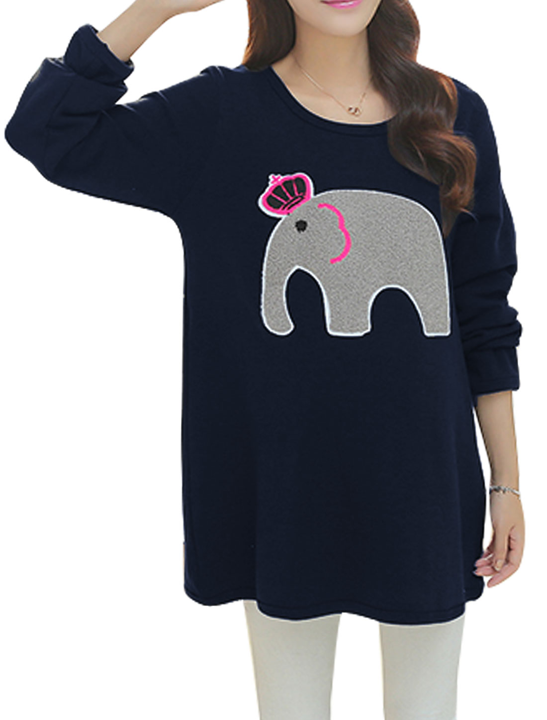 Maternity New Above Knee Fleece Lined Elephant Applique Dress Navy Blue L