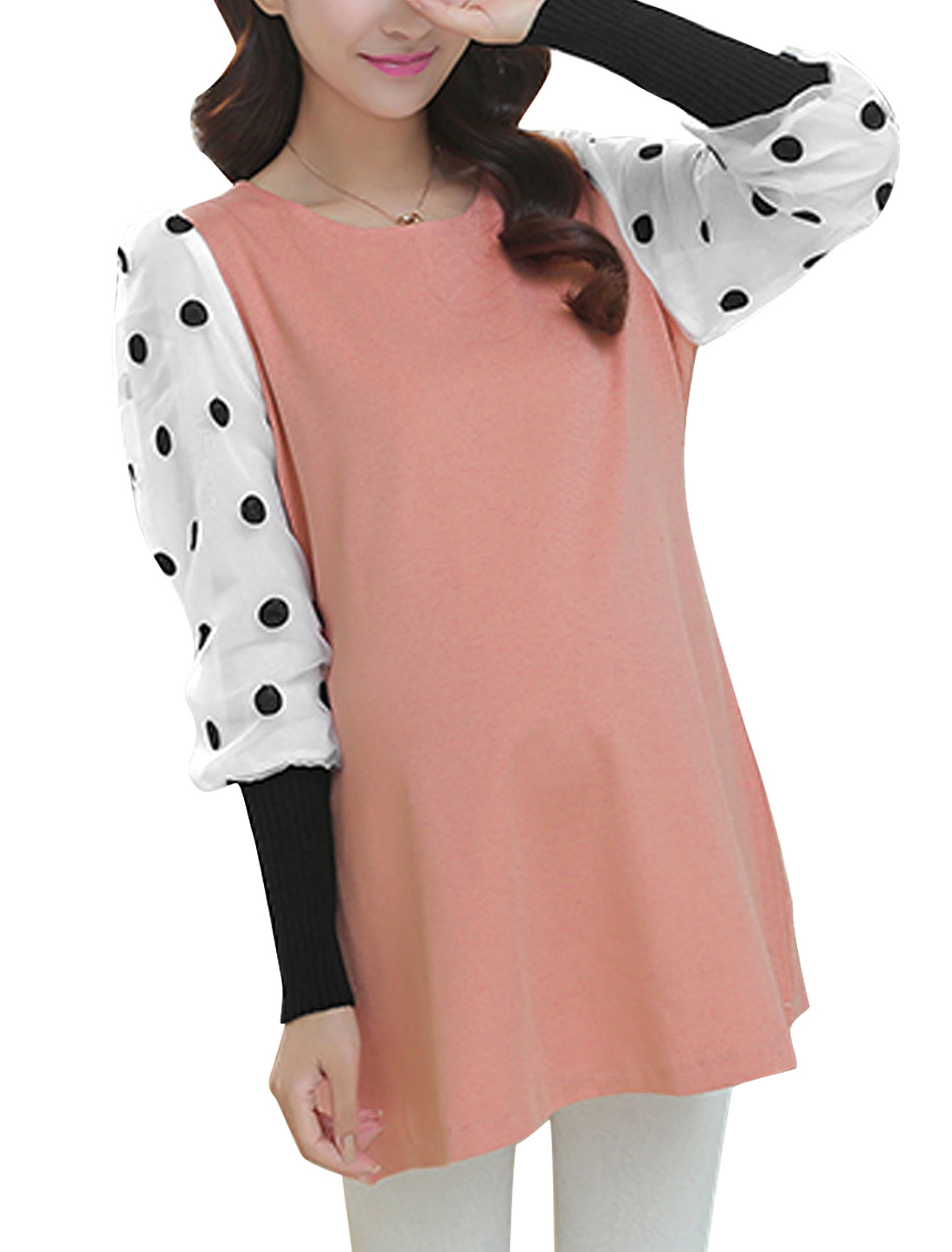 Maternity Embroidered Dots Decor Sleeves Round Neck Pink Dress L