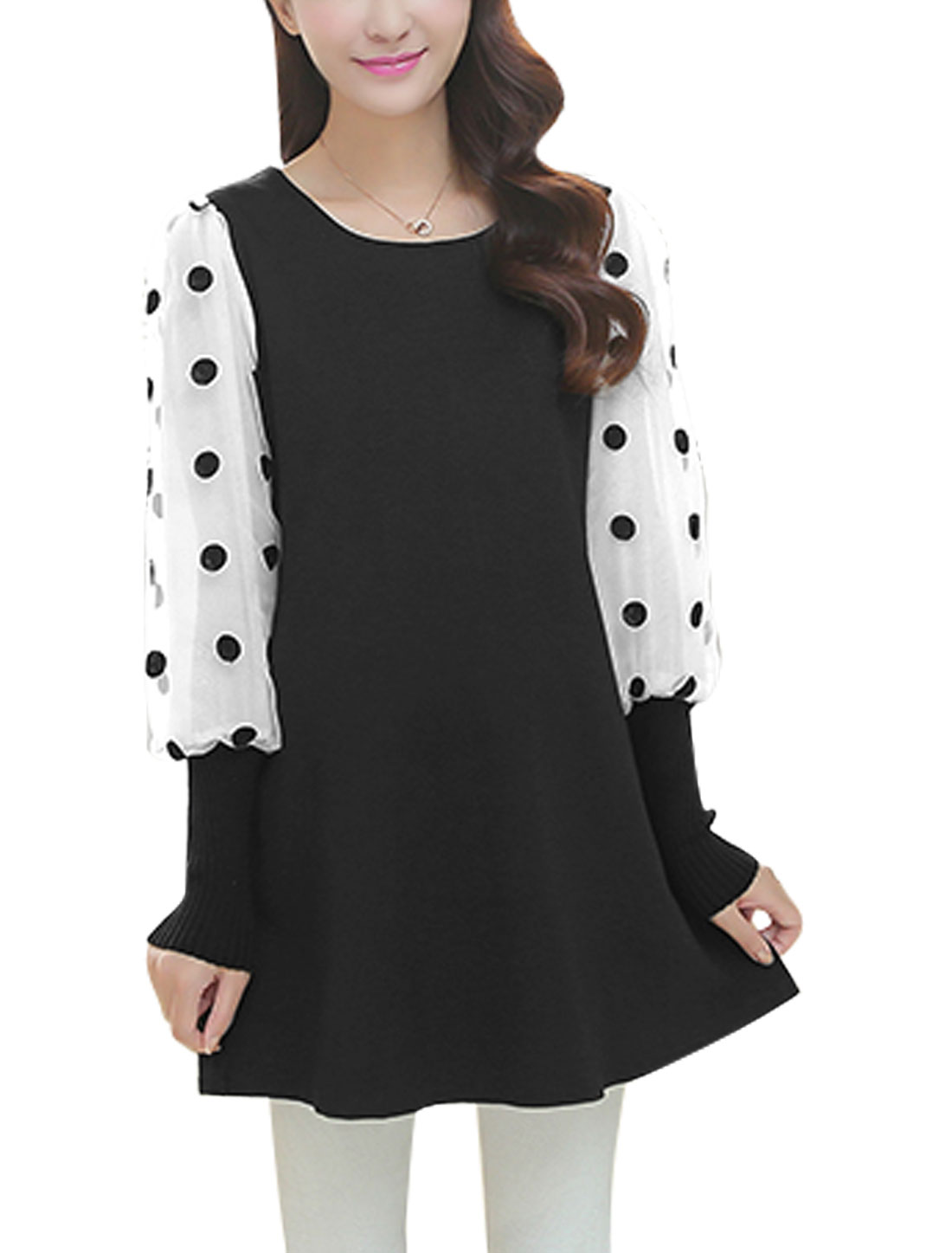 Maternity Long Sleeves Splicing Round Neck Black Dress L