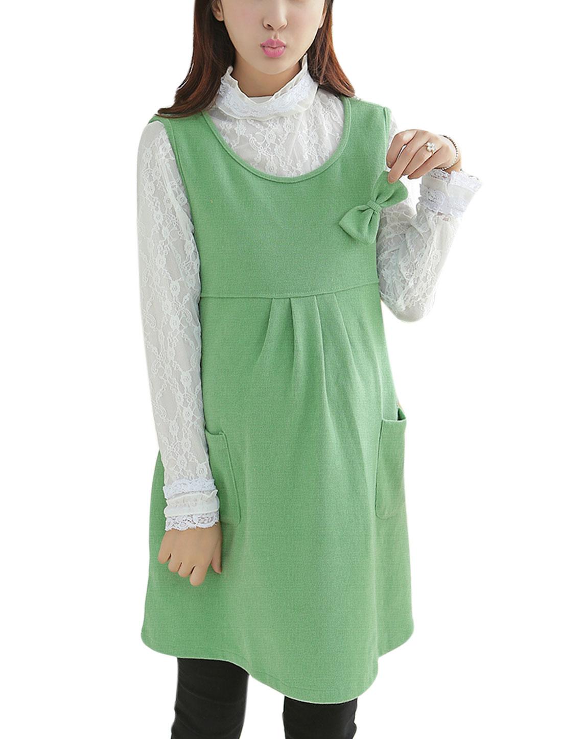 Maternity Bowknot Decor Bust Tie Strap Back Short Dress Light Green M