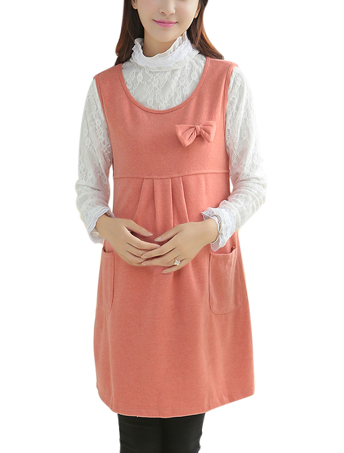 Maternity Double Vertical Pockets Casual Short Dress Salmon M