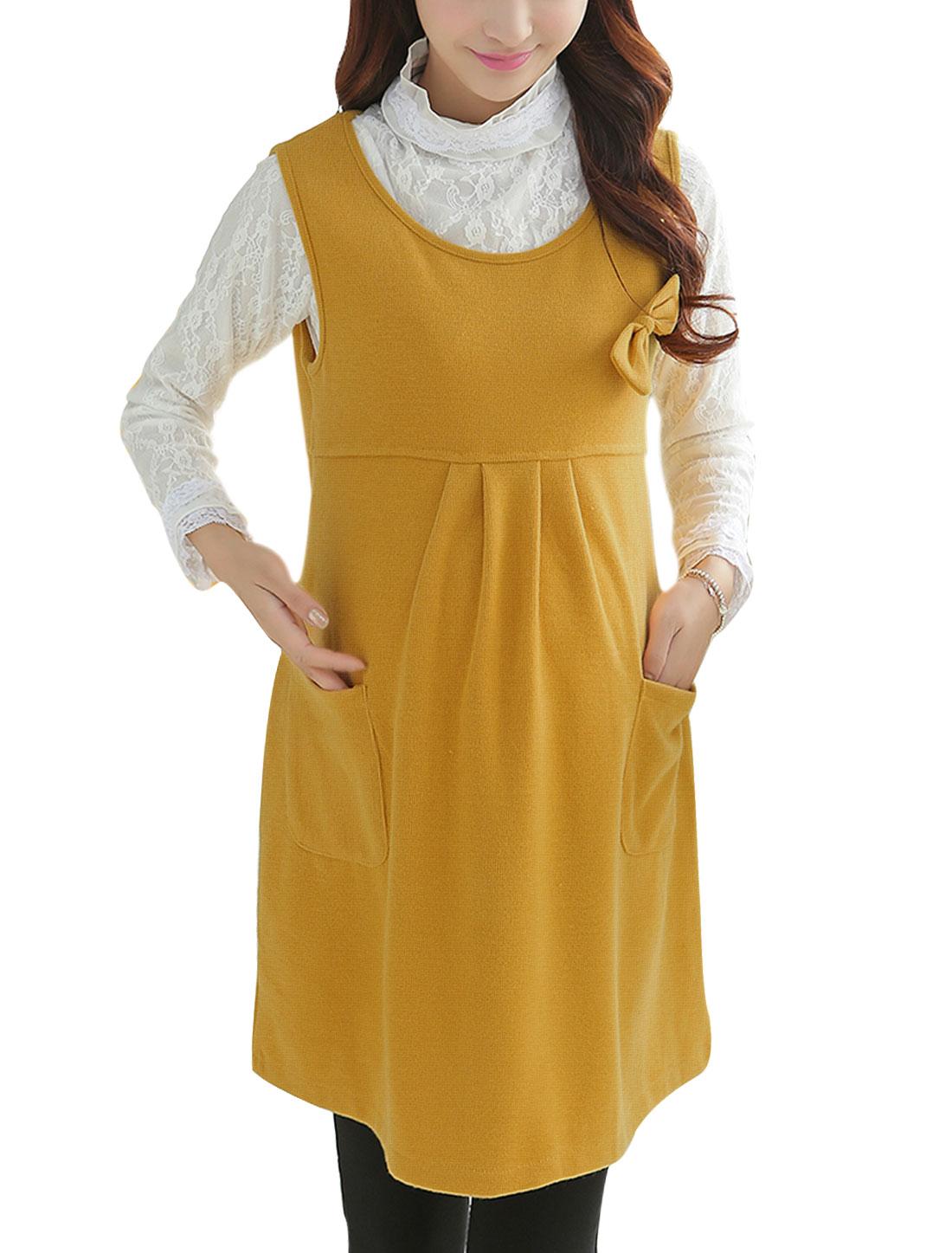 Pregnant Women Bowknot Decor Bust Leisure Short Dress Yellow M