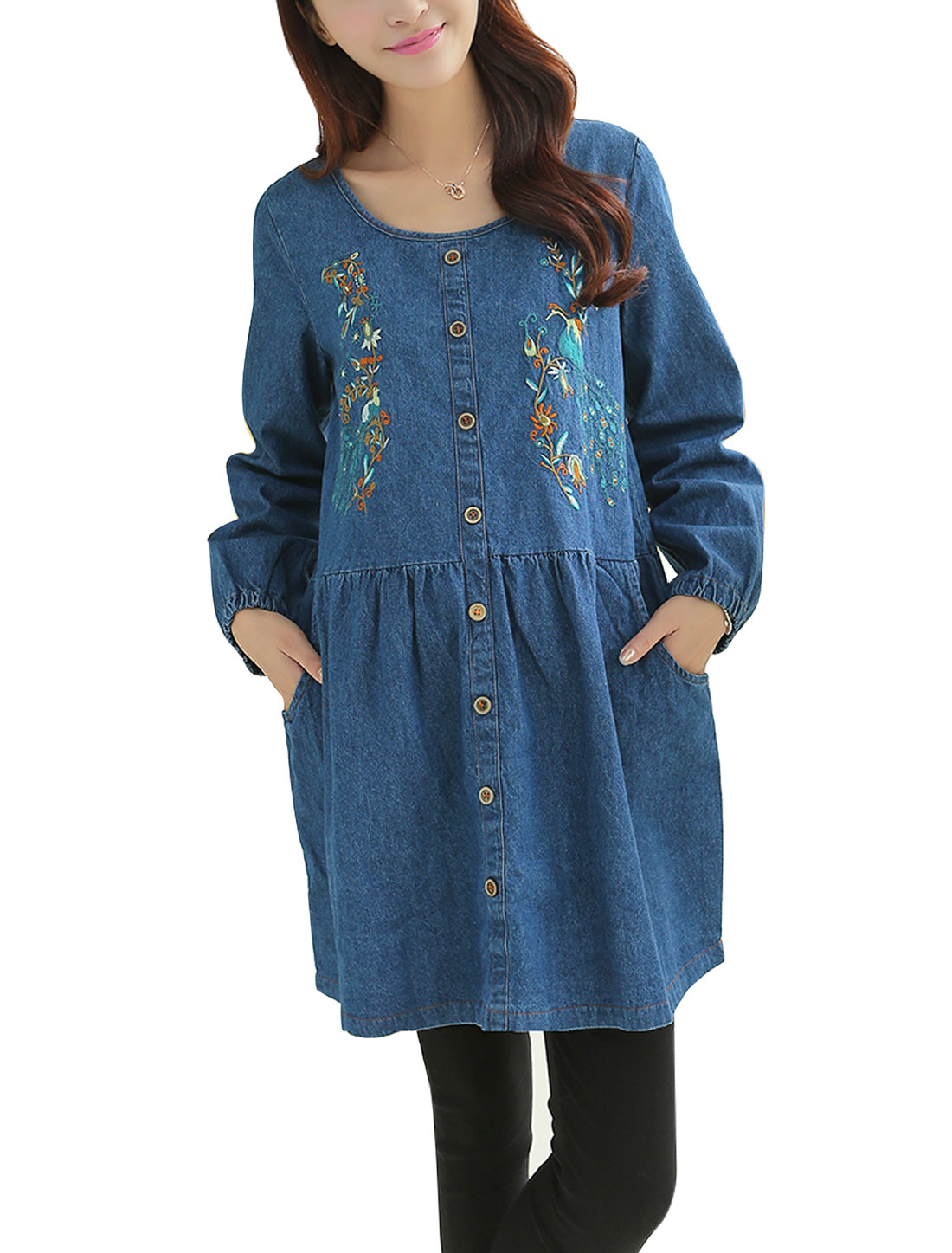 Maternity Floral Peacock Pattern Double Slant Pocket Casual Dress Blue M