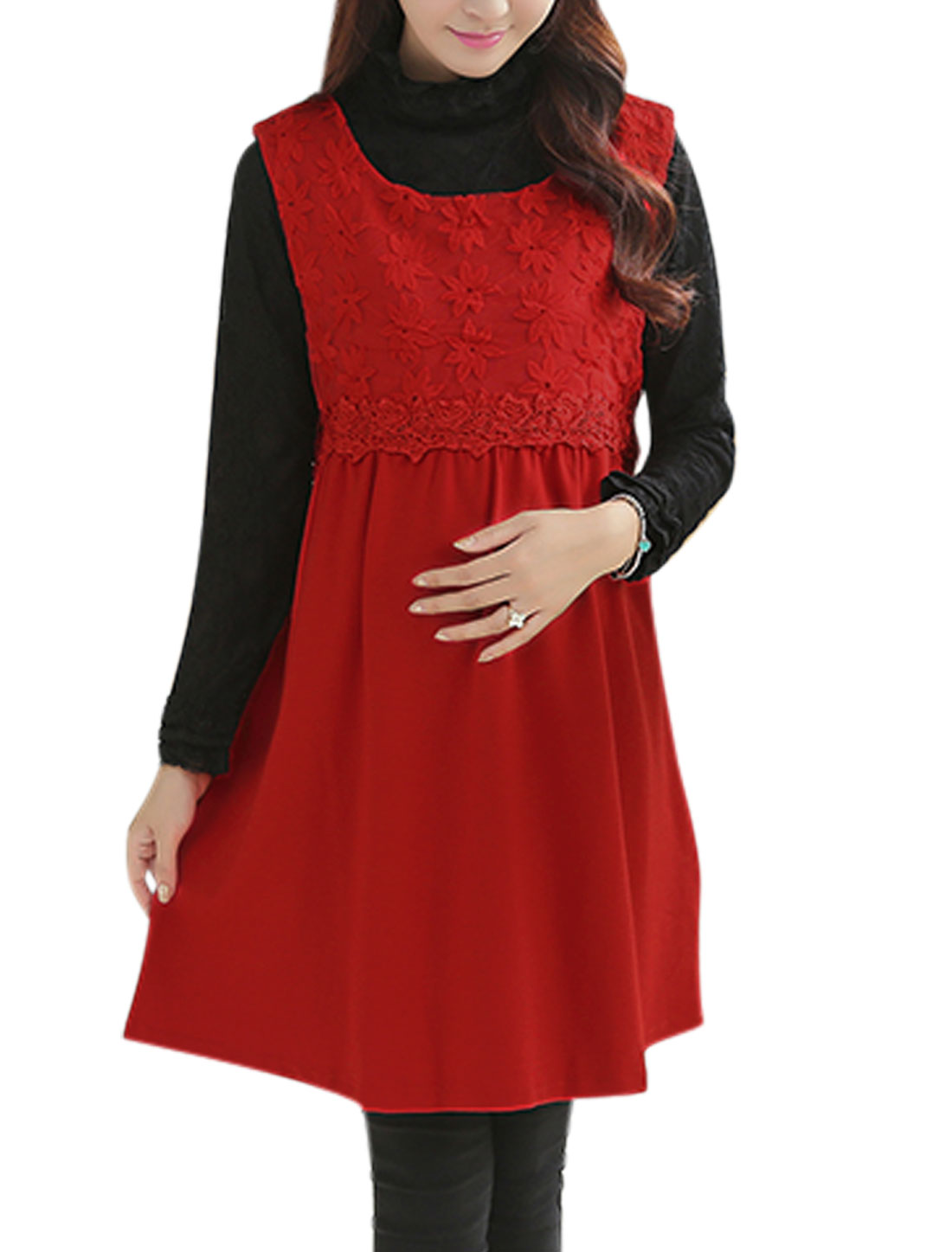 Maternity Lace Panel Design Sleeveless Pullover Red Dress L