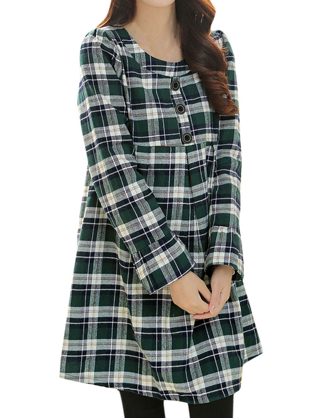 Maternity Plaids Pattern Buttons Decor Front Short Dress Green Navy Blue M